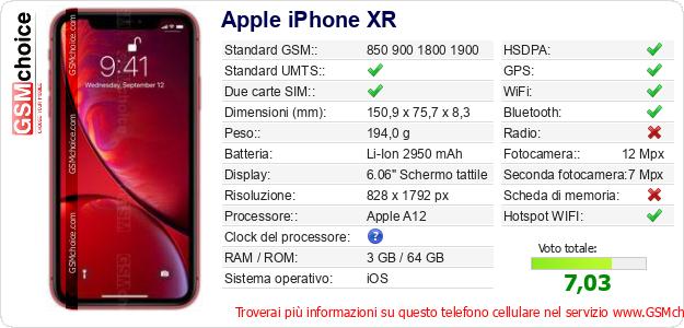 Apple iPhone XR Dati tecnici di telefono cellulare