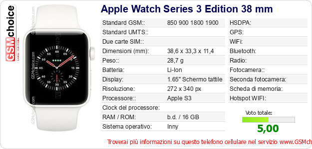 Apple Watch Series 3 Edition 38 mm Dati tecnici di telefono cellulare