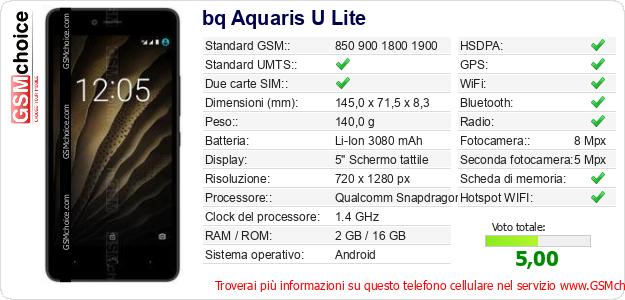 bq Aquaris U Lite Dati tecnici di telefono cellulare
