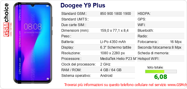 Doogee Y9 Plus Dati tecnici di telefono cellulare