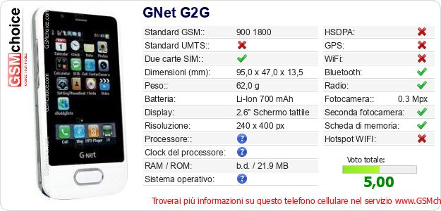 GNet G2G Dati tecnici di telefono cellulare