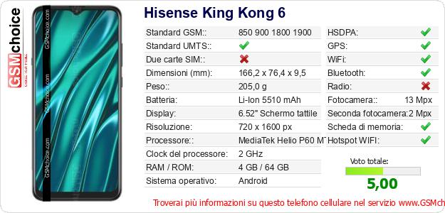 Hisense King Kong 6 Dati tecnici di telefono cellulare