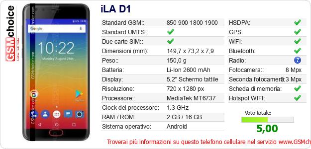 iLA D1 Dati tecnici di telefono cellulare