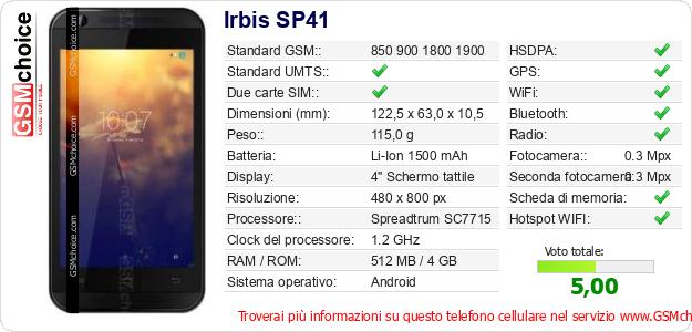 Irbis SP41 Dati tecnici di telefono cellulare