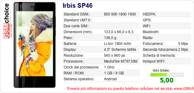Irbis SP46 Dati tecnici di telefono cellulare