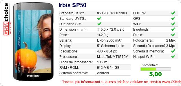 Irbis SP50 Dati tecnici di telefono cellulare