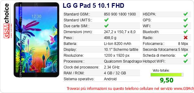 LG G Pad 5 10.1 FHD Dati tecnici di telefono cellulare
