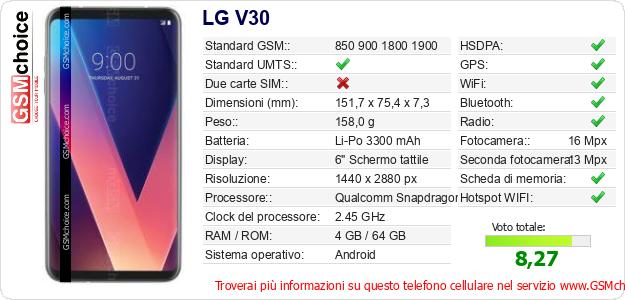 LG V30 Dati tecnici di telefono cellulare