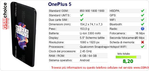 OnePlus 5 Dati tecnici di telefono cellulare