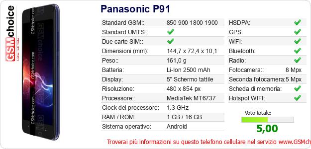 Panasonic P91 Dati tecnici di telefono cellulare