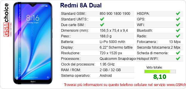 Redmi 8A Dual Dati tecnici di telefono cellulare