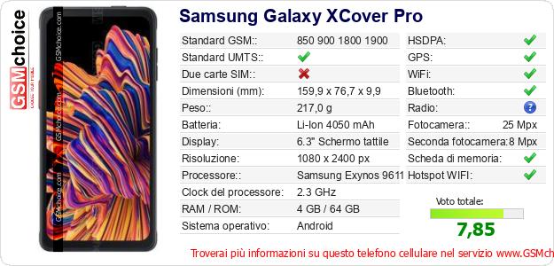 Samsung Galaxy XCover Pro Dati tecnici di telefono cellulare