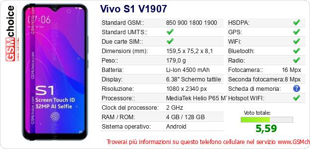 Vivo S1 V1907 Dati tecnici di telefono cellulare