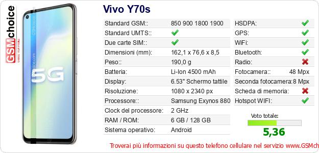 Vivo Y70s Dati tecnici di telefono cellulare