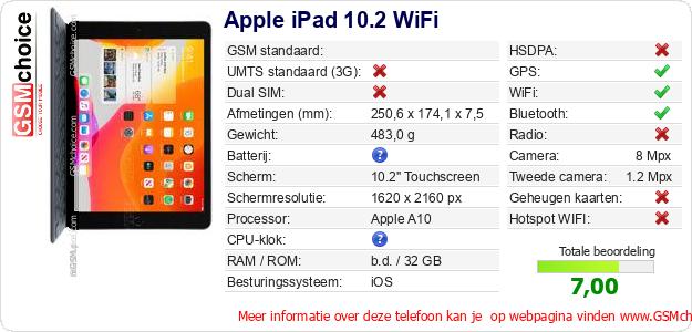 Apple iPad 10.2 WiFi Technische gegevens