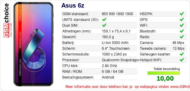 Asus 6z Technische gegevens