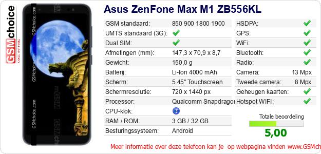Asus ZenFone Max M1 ZB556KL Technische gegevens