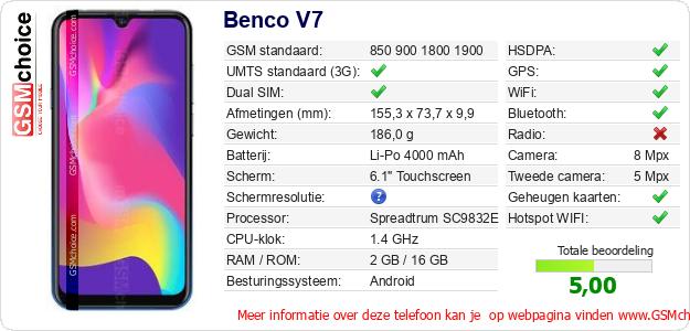 Benco V7 Technische gegevens