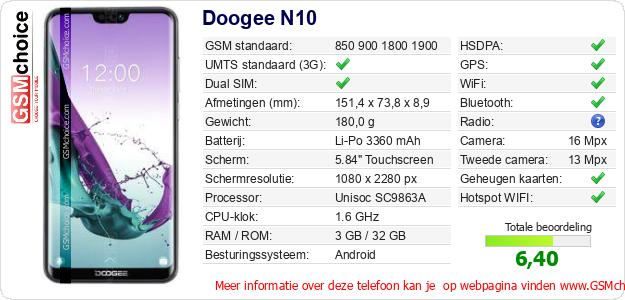 Doogee N10 Technische gegevens