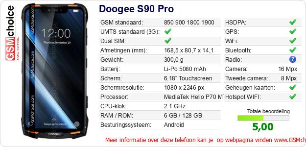 Doogee S90 Pro Technische gegevens