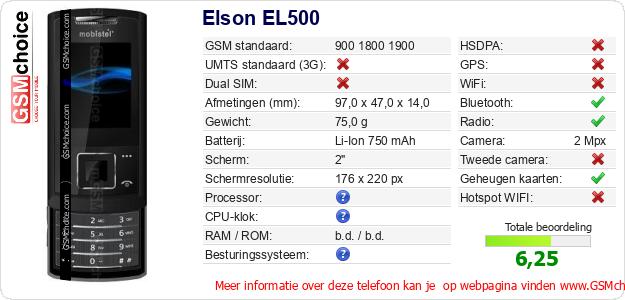 Elson EL500 Technische gegevens
