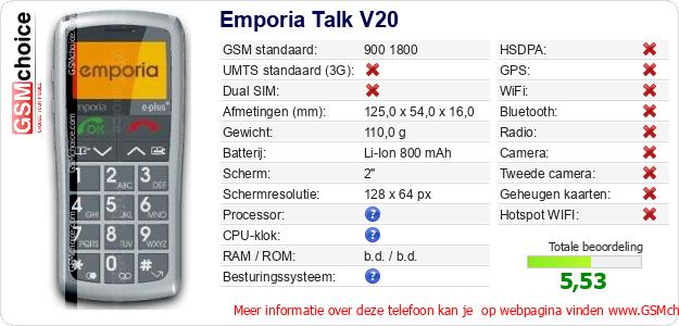 Emporia Talk V20 Technische gegevens