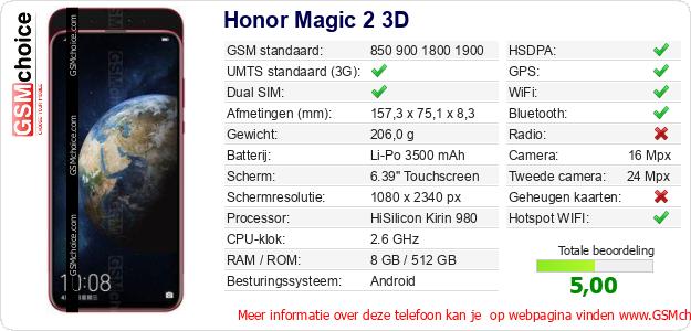 Honor Magic 2 3D Technische gegevens