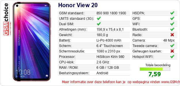 Honor View 20 Technische gegevens