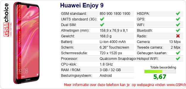 Huawei Enjoy 9 Technische gegevens