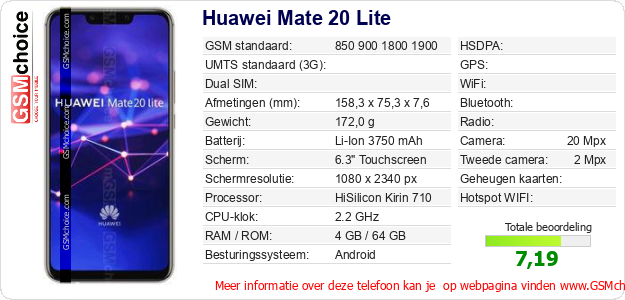 Huawei Mate 20 Lite Technische gegevens