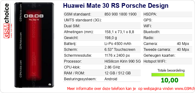 Huawei Mate 30 RS Porsche Design Technische gegevens