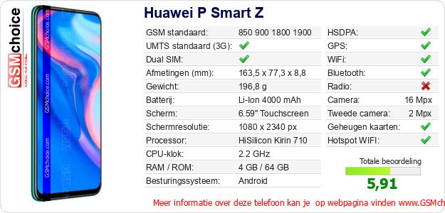 Huawei P Smart Z Technische gegevens