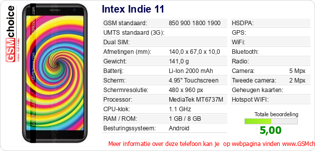 Intex Indie 11 Technische gegevens