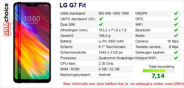 LG G7 Fit Technische gegevens
