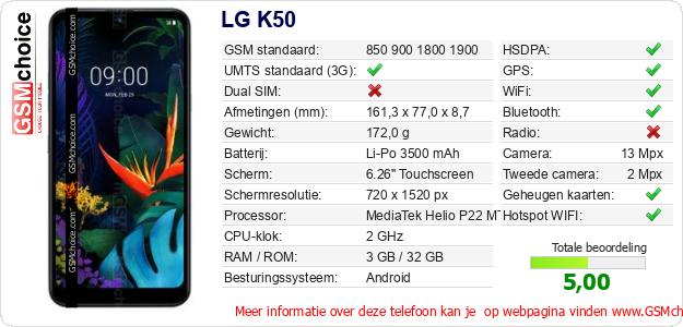 LG K50 Technische gegevens