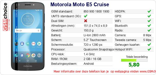 Motorola Moto E5 Cruise Technische gegevens