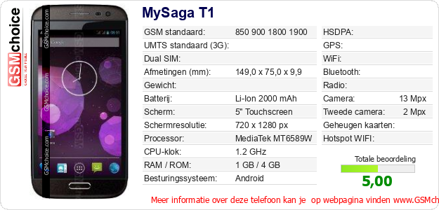 MySaga T1 Technische gegevens