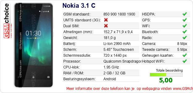 Nokia 3.1 C Technische gegevens