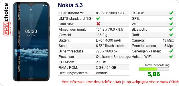 Nokia 5.3 Technische gegevens