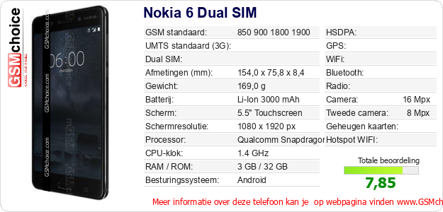 Nokia 6 Dual SIM Technische gegevens