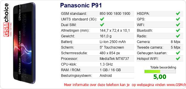 Panasonic P91 Technische gegevens