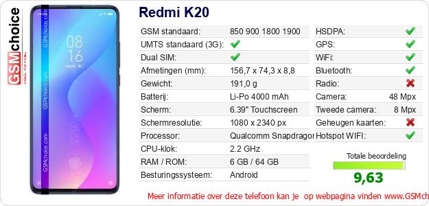 Redmi K20 Technische gegevens
