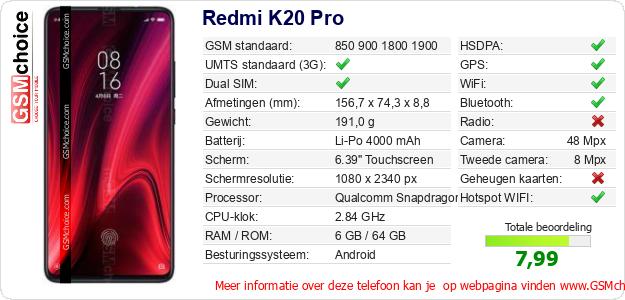 Redmi K20 Pro Technische gegevens