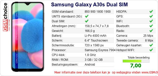 Samsung Galaxy A30s Dual SIM Technische gegevens