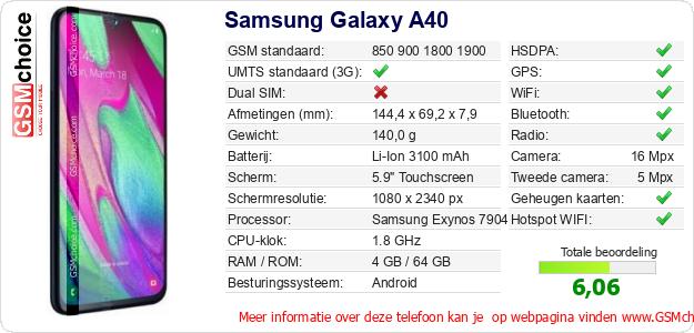 Samsung Galaxy A40 Technische gegevens