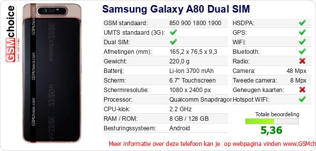 Samsung Galaxy A80 Dual SIM Technische gegevens