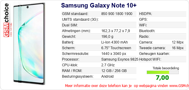 Samsung Galaxy Note 10+ Technische gegevens