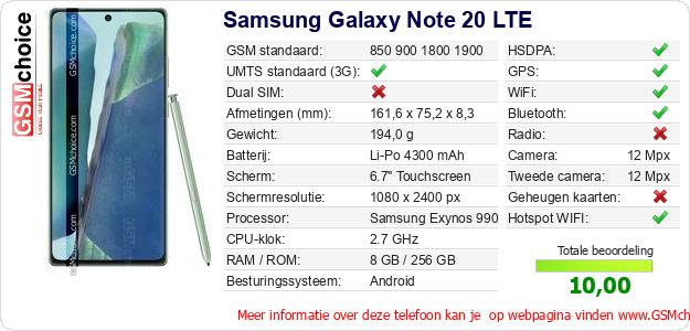 Samsung Galaxy Note 20 LTE Technische gegevens