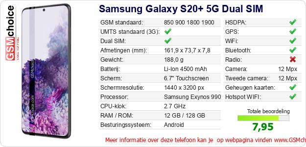 Samsung Galaxy S20+ 5G Dual SIM Technische gegevens