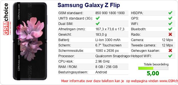 Samsung Galaxy Z Flip Technische gegevens